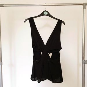 Zara Trafaluc Black Cutout Top. Ties at back.